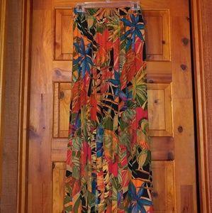 Tropical flowered rayon skirt